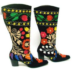 Suzani in ancient Persian means needle. These boots are both hand and machine embroidered in small workshops in Turkey where whole families work on the production. Boots are made of embroidered velvet
