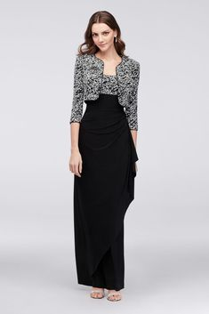 Topped with a textural glitter-printed bodice and matching jacket, this slinky dress is finished with a gathered empire waist. By Alex Evenings Polyester, acetate, spandex Back zipper; fully lined Mob Dresses, Tea Length Dresses, Fashion Dresses, Formal Dresses, Plus Size Gowns, Mother Of Groom Dresses, A Line Gown, Lace Sheath Dress, Davids Bridal