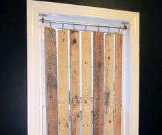 Easy, stylish, budget-friendly DIY pallet wood vertical blinds! As created by humboldtartdept.blogspot.com!