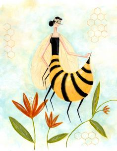Apitherapy Bee Art, Honey Bees, Free Printables, Insects, Illustrations, Amazing, Painting, Bees, Free Printable