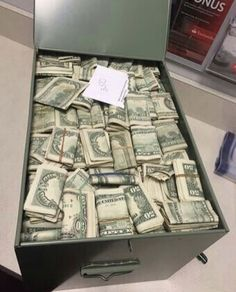 A lot of money in a safe deposit box vault Make Money Blogging, Make Money From Home, Make Money Online, Saving Money, How To Make Money, Safe Deposit Box, Money On My Mind, Money Stacks, Mo Money