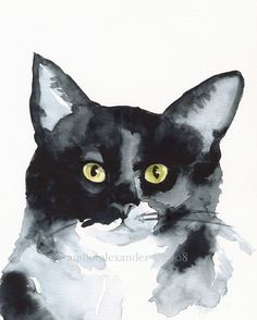 The+Stare+Cat+Art+Archival+print+by+amberalexander+on+Etsy,+$20.00