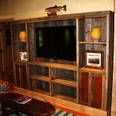 Fantastic media center made primarily out of pallets!!