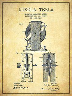 Tesla Digital Art - Nikola Tesla Electro Magnetic Motor Patent Drawing From 1889 - V by Aged Pixel Tesla Motors, Nikola Tesla Patents, Nikola Tesla Inventions, Nicola Tesla, Tesla Technology, Tesla Coil, Magnetic Motor, Patent Drawing, E Mc2