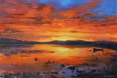 Sunset On Lake Painting by Conor McGuire