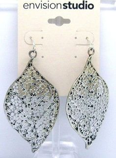 """Envision Studio Silver Plated Leaf Style Open Work Drop Earring 2 3/4"""" #EnvisionStudio #DropDangle"""