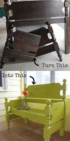 10 Amazing DIY Furniture Transformations - #DIY Turn a Headboard into a Bench #homedecor
