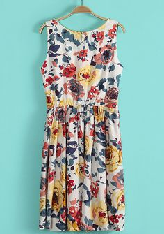 White Sleeveless Floral Pleated Tank Dress - Sheinside.com