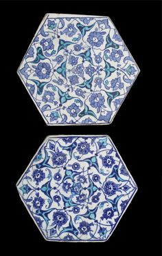 Two Iznik cobalt and turquoise hexagonal pottery Tiles Turkey, circa 1540-45 each decorated with a radial design of palmette arabesques, rumi motifs and lotus blossoms in two shades of cobalt-blue and turquoise under a transparent colourless glaze