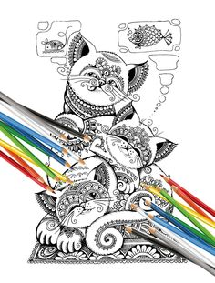 """Poster - coloring book for adults """"Cats"""" Black and white illustration. one page instant PDF by tobechild on Etsy"""