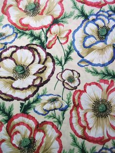 Banded Poppy Natural Flower Philip Jacobs Rowan Westminster Fabric 26""