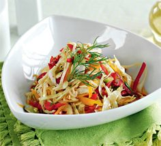 Острый капустный салат ИНГРЕДИЕНТЫ кочан молодой капусты 1 сладкий желтый перец пучок зеленого лука 0,5 ч. л. порошка чили растительное масло для заправки соль Перемешать капусту, перец и лук. Добавить заправку, перемешать и оставить в теплом месте на 5–6 мин.