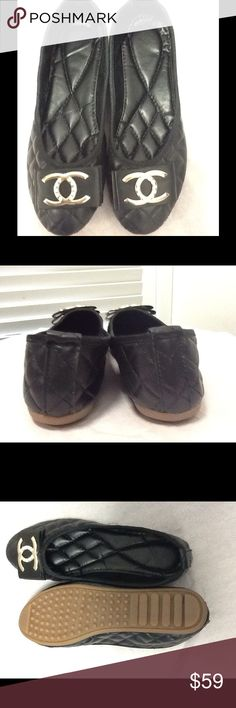 Chic Quilted Ballerina Shoes Sz 7.5- 8 Length 9.5 Chic Black  Quilted Flat Ballerina Shoes Sz 7.5- 8 Length 9.5 Shoes Flats & Loafers
