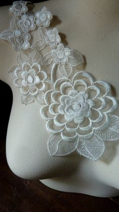 """1-7//8/"""" White Bridal Rayon Corded Embroidered Beaded Sequins Lace Trim by Yard"""