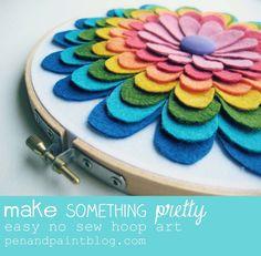 craftsiheart: (via pen & paint: Make Something Pretty - easy flower hoop art) Felt Flowers, Diy Flowers, Fabric Flowers, Embroidery Hoop Crafts, Embroidery Hoop Art, Felt Diy, Handmade Felt, Fabric Crafts, Sewing Crafts
