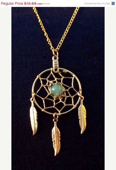 SALE DREAMIN in GOLD and Green  Adventurine Dream catcher necklace , dreamcatcher jewelry