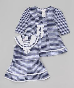 Another great find on #zulily! Navy Houndstooth Swing Coat & Dress - Infant #zulilyfinds