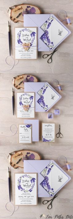 Lavender purple watercolor wedding invitations