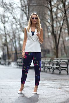 printed pants with white vest