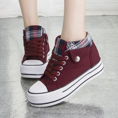 Fashion Increased Canvas Lace Up Plaid Sneakers from Shoes P.- Fashion Increased Canvas Lace Up Plaid Sneakers from Shoes Party - Moda Sneakers, Sneakers Mode, Sneakers Fashion, Fashion Shoes, Shoes Sneakers, Shoes Heels, Canvas Sneakers, Denim Shoes, High Heels