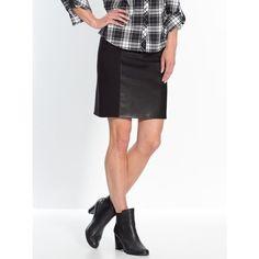 50% Descuento   Falda recta en dos tejidos, altura media Zara, Lingerie, Leather Skirt, Mini Skirts, Jeans, Club, Style, Fashion, Tejidos