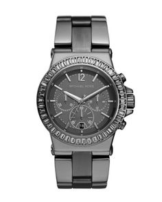 Michael Kors Mid-Size Gunmetal Stainless Steel Dylan Chronograph Glitz Watch.