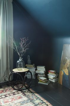 Lovely, dreamy, soothing wall color. Would be amazing in the library, but better in D's attic loft... The wall colour is Benjamin Moore Dark Harbor and the floors and trim are Benjamin Moore Soot.