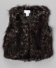 Gray Faux Fur Vest - Girls