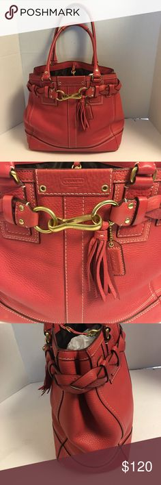 Coach Hamptons salmon pink leather carryall tote This is a beautiful coach Hamptons leather carryall tote with braided strap detailing. Brass tone hardware. Coach hang tag. Open top with leather strap and lobster claw closure. Brown lining with zipper pocket into slip pockets inside. This bag is in excellent gently used condition. No dust bag.  See photos Coach Bags Totes