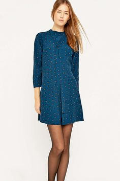 Urban Outfitters Pleated Tie Neck Dress