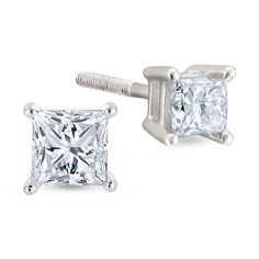 1/2 CT. T.W. Princess White Diamond Platinum Stud Earrings ($2,100) ❤ liked on Polyvore featuring jewelry, earrings, accessories, diamonds, 14k jewelry, 14k gold jewelry, stud earrings, earring jewelry and 14 karat gold stud earrings