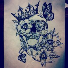 Skull flowers beads crown tattoo art design