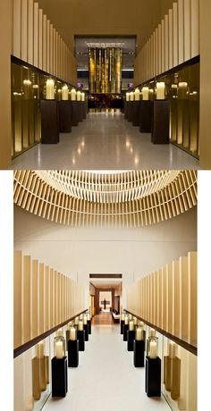 The Upper House hotel in Hong Kong Hotel Corridor, Public Hotel, Corridor Design, Timber Cladding, Interior Decorating, Interior Design, Hotel Interiors, Ceiling Design, Retail Design