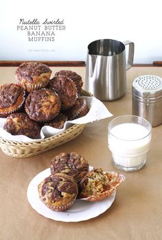 Banana Muffins with Nutella Swirl Recipe | The classic banana muffins made more special with a swirl of Nutella on top. If you're hankering for something sweeter, add some peanut butter chips too!