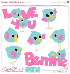 BLACK FRIDAY 50% OFF Love Birds - Digital Clip Art , Commercial Use Clipart, Scrapbook, Printable - Instant Download