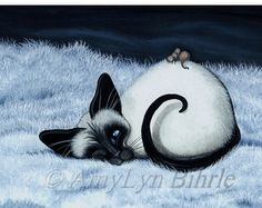 Siamese Cat Cat Nap Pet Portrait ArT  Art Prints or ACEO by