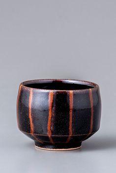 "Yoshinori Hagiwara, YH467, Sake cup, black glaze with stripes, Stoneware, 2 x 2.5 x 2.5"""