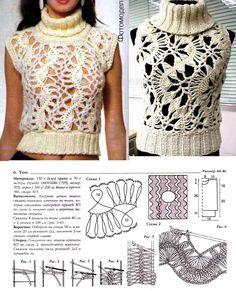 Patrones Crochet: Top Cuello Alto sin Mangas Patron