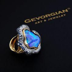 Opal, Diamond, and Sapphire Ring by GEVORGIAN  - www.gevorgian.ru  (=)