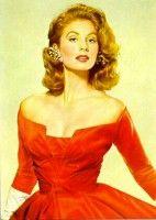 Suzy Parker in Red Off Shoulder Evening Dress
