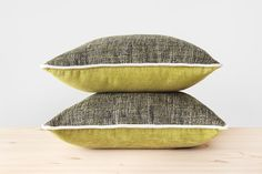 16x16 Chartreuse Pillow Cover Green Yellow Pillows Black and Chartreuse Textured Throw Pillows 40x40 Chartreuse and White Woven Cushion