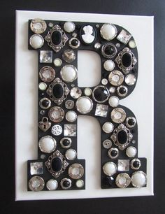 Wooden Letter with Button - Monogram Wall Art