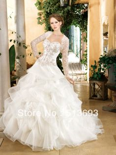 2014 New Ball Gown Sweetheart Vintage Plus Size Bridal Gown Applique Lace Crystals Long Sleeve Wedding Dress with Jacket