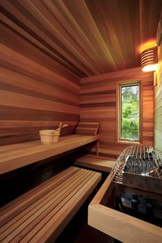 Good sauna designs and plans make your sauna project perfect. When you decide to design your own sauna, it is important to consider several factors. Heaters are the heart and soul of any sauna. Sauna Steam Room, Sauna Room, Basement Sauna, Sauna House, Building A Sauna, Sauna Seca, Spa Jacuzzi, Indoor Sauna, Sauna Design
