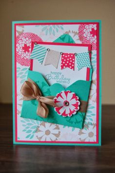 Stampin' Up! Birthday card using the 2014 Petal Parade stamp set and coordinating Banner blast stamps and banner punch