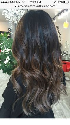 Ash brown balayage hair dark black, black to brown ombre hair, brown high. Brown Hair Colors, Brown Highlights On Black Hair, Black To Brown Ombre Hair, Hair Color Black, Grey Ombre, Dyed Hair Brown, Asian Brown Hair, Cool Tone Brown Hair, Hair Color For Dark Skin Tone