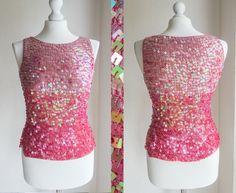 Vintage sequined pink crochet ombre by VintageVanillaShop on Etsy #vogueteam #vintage #fashion