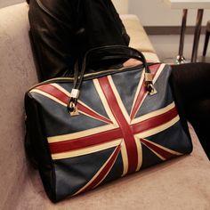 Free shipping M word flag bags vintage fashion flag bag color block one shoulder handbag large bag personality female bag print US $25.99