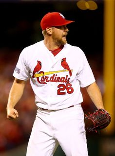 ST LOUIS, MO - OCTOBER 06: Trevor Rosenthal #26 of the St. Louis Cardinals watches the final out as the Cardinals defeat the Los Angeles Dodgers 3-1 in Game Three of the National League Division Series at Busch Stadium on October 6, 2014 in St Louis, Missouri. (Photo by Dilip Vishwanat/Getty Images)