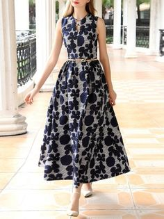 Shop Maxi Dresses - Jacquard Sleeveless Vintage Maxi Dress online. Discover unique designers fashion at StyleWe.com.